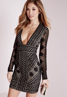 Look insane in this flawless lace number. We're currently vibin' all over this bodycon beauty with plunge neck and long lace sleeve details. Lace be honest your LBD game will be totally heart-stopping and will raise some temps at the pa...