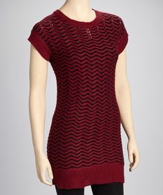Take a look at this Yoki Red Wave Sweater Dress on zulily today!