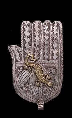 "mediterraneum: "" Hand pendant with salamander motif (khamsa). Morocco. 19th or 20th century. Silver, bronze """