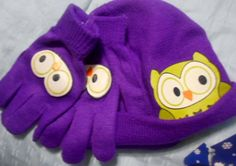 Girls Purple Hat with Matching Gloves **L@@K**