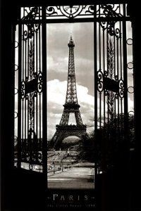 "Amazon.com: Eiffel Tower (Through Gates, 1909) Art Poster Print - 24"" X 36"" Poster Print by Alexandre-Gustave Eiffel, 24x36 Travel Poster Print by Alexandre-Gustave Eiffel, 24x36: Home & Kitchen"
