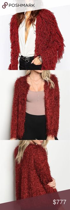 WINE SHAG CARDIGAN Brand new Boutique item PRICE IS FIRM  Stunning burgubdy fringe/shag cardigan. Pair over a dress or with a top and ripped jeans.   True to size  I am modeling a size small   *VALENTINE Valentine's special occasion party shag fringe . Sweaters Cardigans