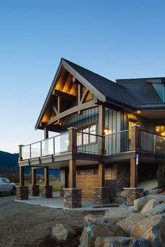 Transitional Timber Frame Custom Home - Rustic - Exterior - Vancouver - Mountainside Design + Build