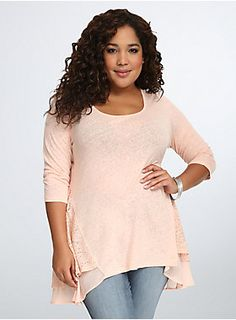 """<p>This mixed media tee will get you in the swing of things in no time. The pretty peach hue is a flirty pop of color, the oh-so-comfy knit stays breathable thanks to back and side lace insets. A ruffled chiffon hem gives your ensemble an added lift.</p>  <p></p>  <p><b>Model is 5'10"""", size 1</b></p>  <ul> <li>Size 1 measures 29 1/2"""" from shoulder</li> <li>Linen/cotton/polyester/nylon/spandex</li> <li>Hand wash, dry flat</li> <li>Imported plus size tee</li> </ul>"""