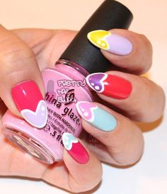 Heart nail art ! so cartoon :P