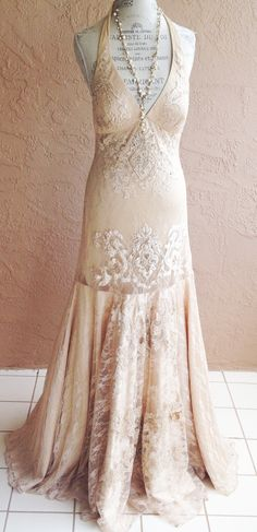 Great Gatsby silk Champagne Vintage Romantic; like the cut of this dress, with higher neckline.