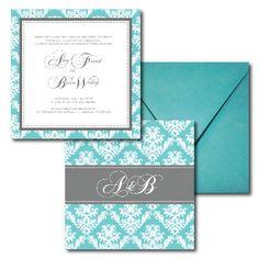 Teal Wedding Invitations, Grey Wedding Invitations, Spring and Summer Wedding, French Damask