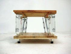 DIY Coffee Tables - Ten Green Coffee Table - From Reclaimed Timber and Glass Bottles