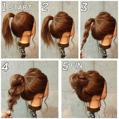 Easy and fast hairstyles for medium hair - Neue Besten Haare Frisuren ideen 2019 - Cheveux Updo Styles, Curly Hair Styles, Hair Styles Steps, Long Hair Ponytail Styles, Formal Ponytail, Formal Bun, Short Ponytail, Ponytail Bun, Short Bangs