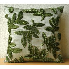 Throw Pillow Covers 16 Inch Ribbon Embroidered by TheHomeCentric, $30.50