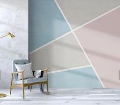Bedroom Wall Designs, Bedroom Decor, Wall Decor, Geometric Wall Paint, Self Adhesive Wallpaper, Wall Wallpaper, Traditional Wallpaper, Room Colors, Paint Designs