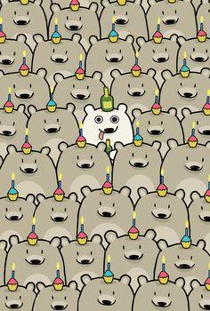 Carte de joyeux anniversaire ours par bikeparts sur Etsy, $3.50
