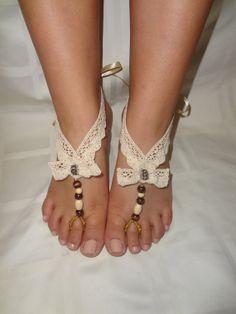Crochet & Wooden Beads Barefoot Sandals by PassionateSpirit, $13.00