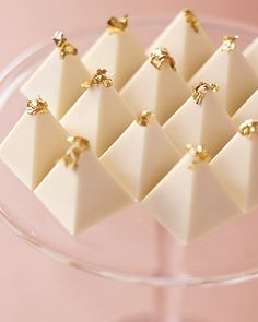 White-Chocolate Pyramid Truffles    All that's needed to turn these elegant white-chocolate zabaglione pyramid truffles into a wedding-worthy dessert is a whimsical topper of edible gold leaf on each one; display them together on a tall cake stand for a dramatic presentation.     Truffles, Christopher Norman Chocolates, 212-402-1243.