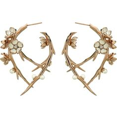 SHAUN LEANE Cherry Blossom rose-gold vermeil, ivory enamel, pearl and... ($2,430) ❤ liked on Polyvore featuring jewelry, earrings, diamond hoop earrings, ivory earrings, diamond jewelry, pearl jewelry and rose stud earrings
