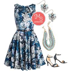 Luck Be a Lady Dress in Blue Garden by modcloth on Polyvore featuring Closet London