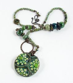 Green Pendant and handmade beads Necklace by Studio47hundred, $50.00
