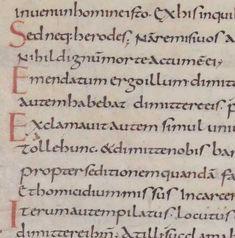 Luke 23:15-20 in a Carolingian Minuscule hand.