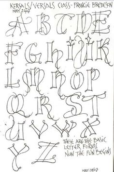 """""""Kersal Exemplars"""" - Potentially a good Zentangle alphabet. Doodle Lettering, Creative Lettering, Lettering Styles Alphabet, Typography Alphabet, Lettering Ideas, Lettering Tutorial, Calligraphy Letters, Caligraphy, Islamic Calligraphy"""