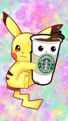 Pikachu with Starbucks Coffee Wallpaper - Coffee Cool Pokemon Wallpapers, Cute Pokemon Wallpaper, Cute Disney Wallpaper, Wallpaper Iphone Cute, Cute Cartoon Wallpapers, Wallpaper Quotes, Pikachu Drawing, Pikachu Art, Cute Pikachu