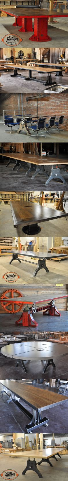 Vintage Industrial offers several conference table options that are all customizable with size, finish, color, dataport, and top material. We build to order in Phoenix and ship everywhere! #vintageindustrialfurniture