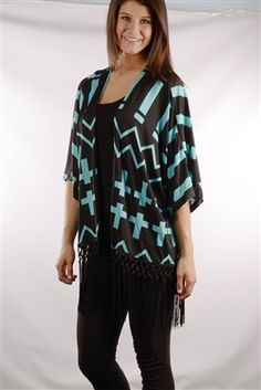 Black cardigan with turquoise cross and chevron design. The fringe trim adds an extra touch of wow! Light weight enough to wear all summer! Available at www.DirtRoadDivaBoutique.com    #turquoise #cardigan #fringe