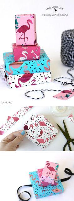 DIY Metallic Flamingo Wrapping Paper - make your own metallic flamingo wrapping… Diy Paper, Paper Crafts, Kraft Paper, Flamingo Print, Pink Flamingos, Gift Wraping, Metallic Paper, Pretty Packaging, American Crafts