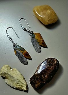 Red Creek Jasper Earrings with Silver Feathers