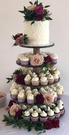 Wedding Cakes Discover Rustic Cupcake Stand 5 Tier (Tower Holder) 75 Cupcakes 150 Donuts for Wedding Birthday Shower Anniversary Party Pastries - Wood Wooden Small Wedding Cakes, Floral Wedding Cakes, Wedding Cake Rustic, Wedding Cakes With Cupcakes, Beautiful Wedding Cakes, Wedding Cake Designs, Cupcake Cakes, Dream Wedding, Cupcake Wedding Display