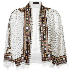 Isabel Marant Ecru Embroidered Baikal Jacket ($3,790) ❤ liked on Polyvore featuring outerwear, jackets, collarless jacket, wool jacket, cropped wool jacket, embroidery jackets and isabel marant