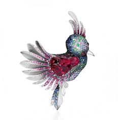 "The ""Colibri"" Brooch from the Eden Collection - White Gold, Tourmaline Rubellite 24.94ct, Pink Tourmaline, Rubies, Diamonds, Multicolored Sapphires and Tsavorites by 'Mousson Atelier' ♥≻★≺♥"