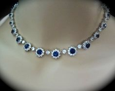 Bridal Necklace, Halo Cz Blue Sapphire Necklace, Something Blue for a Bride Mother Royal Blue Princess Necklace, LUX Wedding Jewelry. KATE Bridal Jewelry Blue Sapphire Necklace Cubic by QueenMeJewelryLLC Blue Sapphire Necklace, Sapphire Jewelry, Pearl Jewelry, Wedding Jewelry, Gold Wedding, Gemstone Jewelry, Sapphire Birthstone, Dainty Jewelry, Simple Jewelry