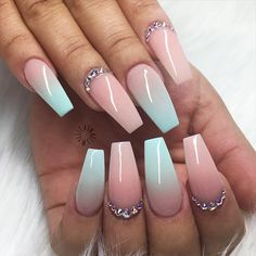 True Embellishments for Your Coffin Nails ★ Long Coffin Nail Designs with Pastel Colors Picture 1 ★ See more: http://glaminati.com/coffin-nails/ #coffinnails #coffinnaildesign