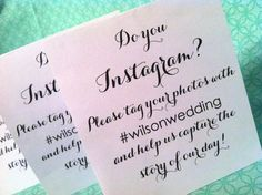 Nine Instagram small table signs - wedding sign, reception sign, wedding reception, ceremony sign, social media sign.