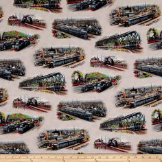 All Aboard Trains Scenic Cream Fabric By The Yard Fabulous Fabrics, Pink Brown, Boy Room, Be Perfect, Green And Grey, Accent Decor, Fabric Design, Yard, Quilts