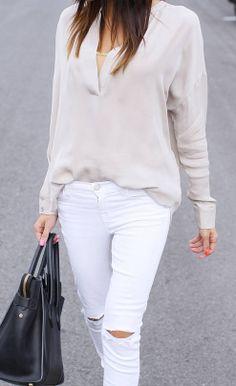 Simple Neutrals  #bag #celine #blouse