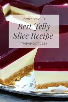 This Best Jelly Slice Recipe is a true crowd pleaser and it tastes every bit as good as it looks. Jello Recipes, Baking Recipes, Cake Recipes, Dessert Recipes, Recipies, No Bake Treats, Yummy Treats, Delicious Desserts, Easy Desserts