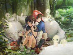 """Ashitaka and San of """"Princess Mononoke"""""""