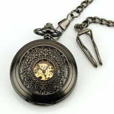 Titanium Black Roman Number Skeleton Automatic Mechanical Pendant Pocket Watch by new brand. $11.99. Watch Case Diameter: Approx. 4.70cm   Thickness of Watch Case: Approx. 1.00cm   Watch Case Material: Alloy   Watch Dial Color: Black   Watch Chain Color: Black   Movement: Self-wind Mechanical   Daily Water Resistant (not for swimming or showering): Yes   ( 2.54cm =1.00inch)