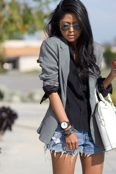 Urban Outfitters blazer, Levi's shorts, ODM watch, Ro Bag bag.