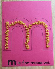 M is for macaroni.  Uppercase and lowercase ABC pages for alphabet and letter of the week activities. Alphabet activities for preschool, pre-k, and early childhood education.