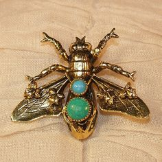 Vintage Fly Bee Pin Brooch Figural Gold Tone Glass or Natural Stone Cabochons in Green  Blue
