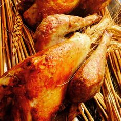 Guinea Hen Roasted on Straws