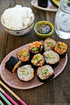Avocado Carrot Vegetable Sushi Rolls | MarlaMeridith.com