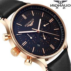 28.85$  Watch now - https://alitems.com/g/1e8d114494b01f4c715516525dc3e8/?i=5&ulp=https%3A%2F%2Fwww.aliexpress.com%2Fitem%2FRelojes-2015-Luxury-brand-guanqin-watches-men-fashion-casual-men-clock-waterproof-quartz-watch-relogio-masculino%2F32385281107.html - Men Watch Top Brand Luxury GUANQIN Fashion Casual Sport Waterproof Quartz-Watch Genuine Leather Watchband Relogio Masculino 2016