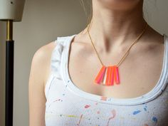 """Lasercut Neon Fluorescent Pink and Clear Starburst Necklace - 18"""" Gold Chain Necklace. $28.00, via Etsy."""