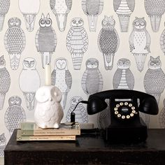 Delicately drawn owls feature on this beautiful wallpaper by Abigail Edwards…