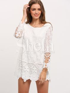 Shop White Long Sleeve Crochet Lace Dress online. SheIn offers White Long Sleeve Crochet Lace Dress & more to fit your fashionable needs.