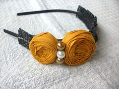 I'm obsessed with adorned headbands.  Going to make one like this soon!