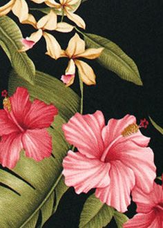 Hamakua Black from Barkcloth Hawaii fabric Shop. Shown here is a tropical Hawaiian upholstery barkcloth fabric with hibiscus & ginger flowers.Add Discount code: (Pin10) in comment box at check out for 10% off sub total at BarkclothHawaii.com